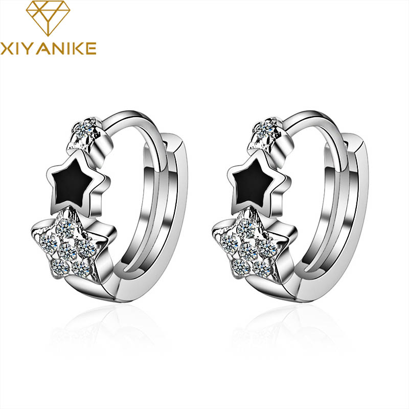 XIYANIKE 925 Sterling Silver Prevent Allergy Handmade Earrings for Women Trendy Elegant Star Geometric Crystal Jewelry Gifts