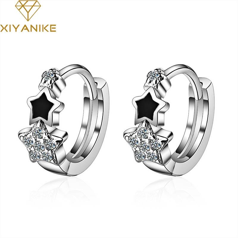 XIYANIKE 925 Sterling Silver Prevent Allergy Handmade Earrings for Women Trendy Elegant Star Geometric Crystal Jewelry Gifts