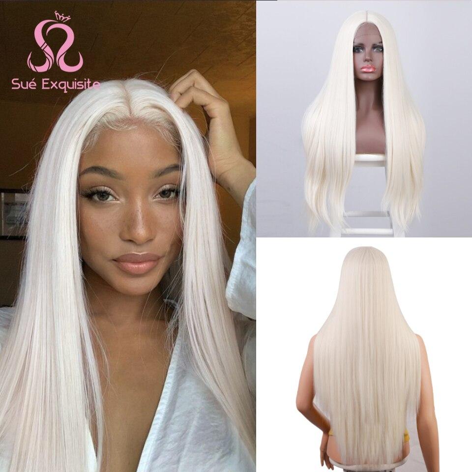 SUe exquise perruques synthétiques pour les femmes noires petite zone dentelle longue droite perruque blanc/blond/violet perruque moyenne partie Cosplay perruques
