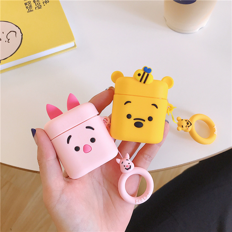 Case For Honor FlyPods Pro Silicone Bluetooth Earphone Case For FreeBuds 2 Pro Anti-slip Protective Cover 3D Piglet Minnie Cute