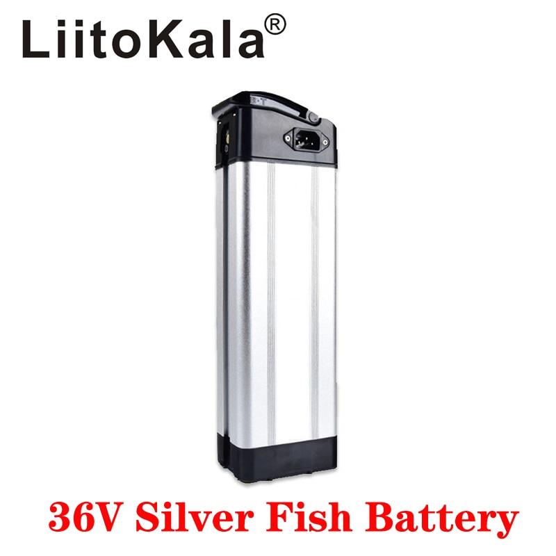 Liitokala 36 v 10ah 12ah 15ah 20ah prata peixe estilo bicicleta elétrica bateria de lítio 36 v 500 w com caixa de alumínio