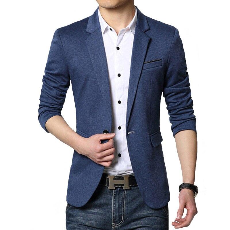 BROWON Autumn Brand Men Blazers Slim Fit Casual Suit Jacket Sold Color One Button Korean Style Business Wedding Party Blazer