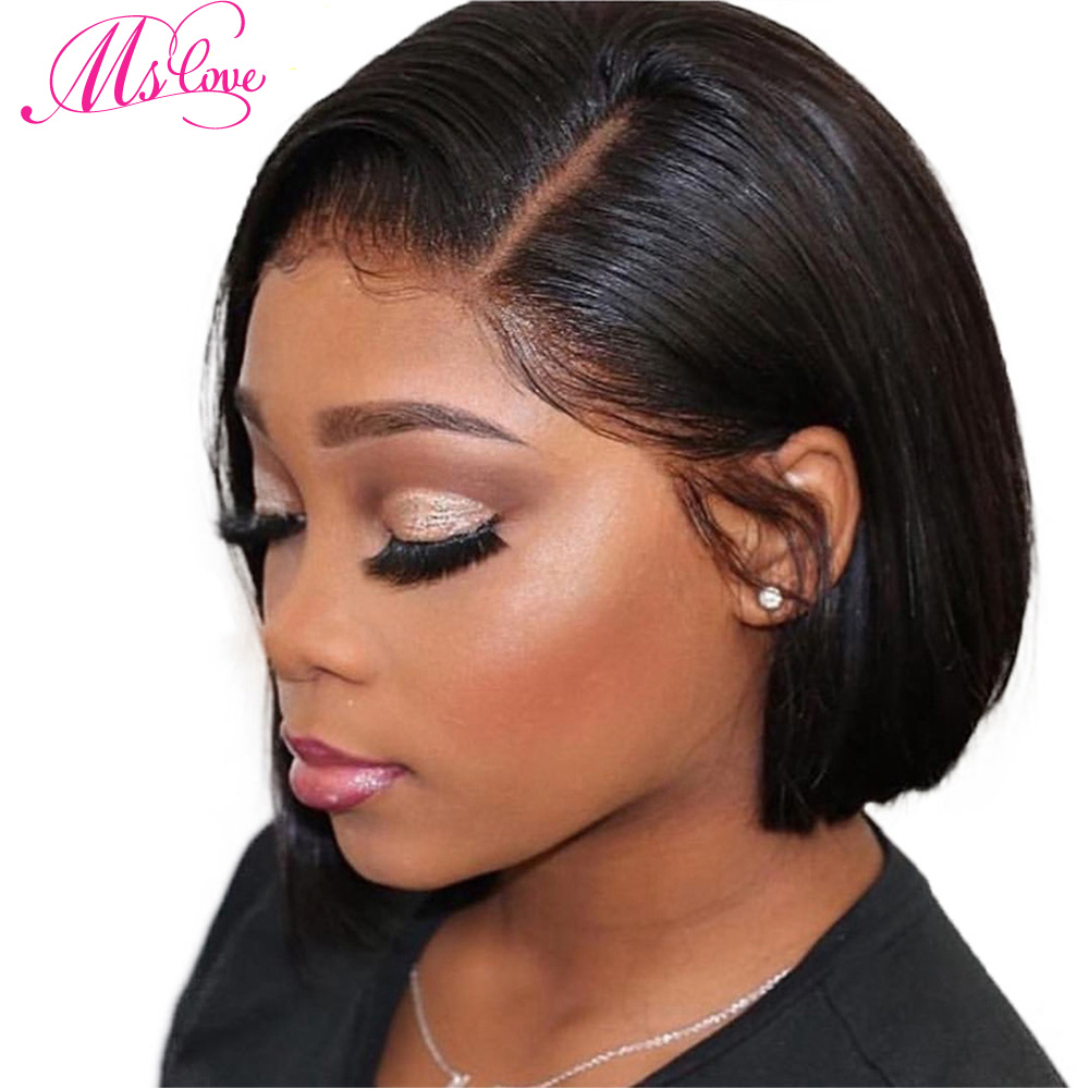 Bob Lace Front Wigs Straight Lace Front Human Hair Wigs For Women Short 12 Inch Brazilian Wig  Lace Mslove Non Remy