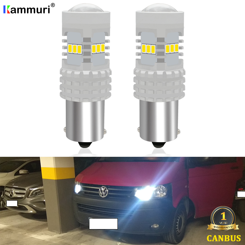 (2) White 6000K Canbus No Error 1156 P21W <font><b>LED</b></font> Bulb for Volkswagen VW <font><b>T5</b></font> <font><b>T5</b></font>.1 T6 Transporter <font><b>LED</b></font> Daytime Running Lights DRL image