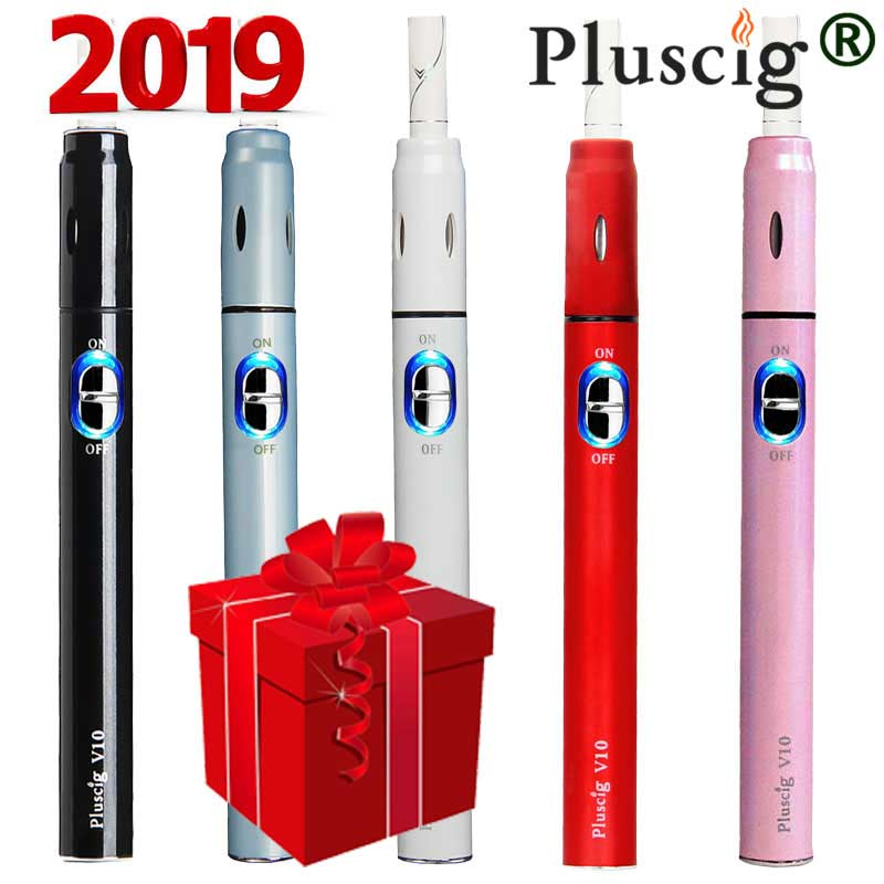 Electronic Cigarette Pluscig V10 Chargable Vape Pen Kits 900mAh 15 Continuous Smoke One-click Operate Factory Selling Latest