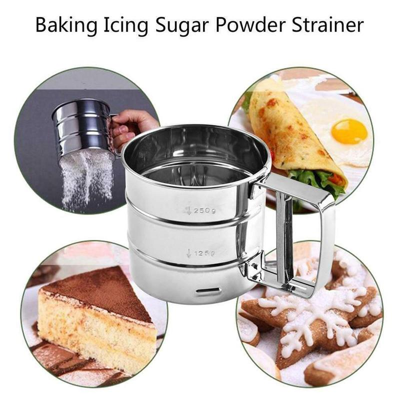 Hand-held Flour Sieve Stainless Steel Baking Tools Flour Cocoa Powder Hand-screened Sugar Mesh Sieve