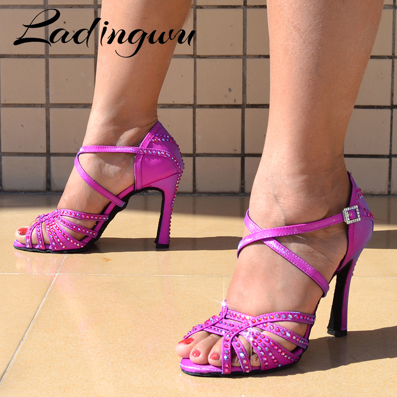 Ladingwu Hot Brand Latin Dance Shoes Women Girls Salsa Tango Patry Dance Shoes  Cationic Chameleon Symphony Flash Satin  Shoes