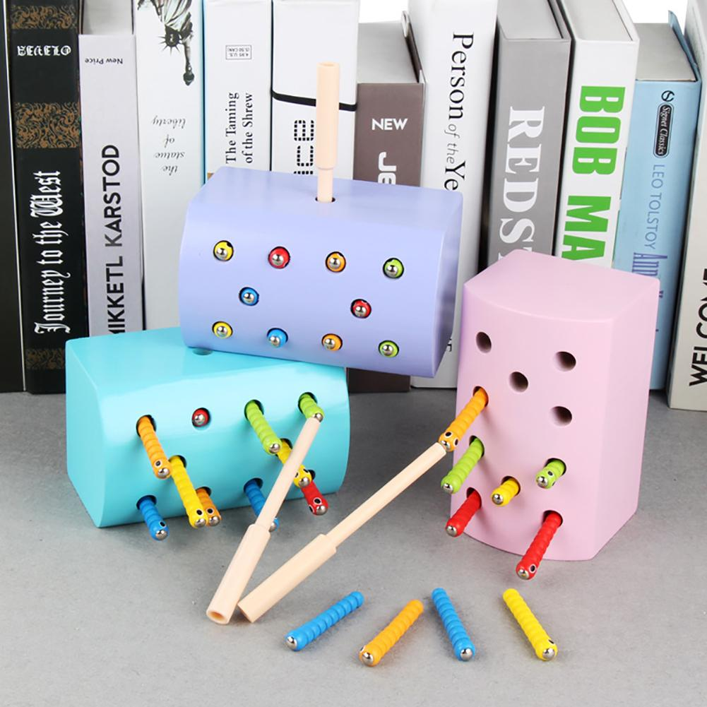 Kids Fishing Toy Wooden Magnetic Pretend Fishing Catch Insect Worm In Hole Kids Education Toy For Kids Gift