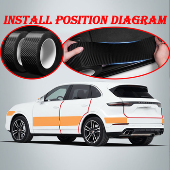 5D Carbon Car Door side Scratchproof Sticker For Fiat 500 Abarth Mercedes W176 W204 W210 W203 CLA E BMW E60 E36 E34 E90 F30 F10 image