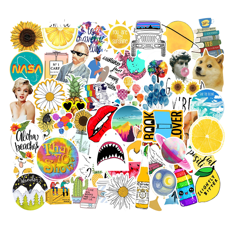 53 Pcs lot Fashion Rural Summer Light Yellow Girls PVC Stickers font b Toys b font