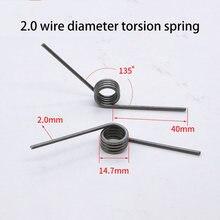 Fil en forme de V, acier à ressort de Torsion, haute résistance, diamètre extérieur 2.0mm, longueur angulaire 40mm, 14.7mm