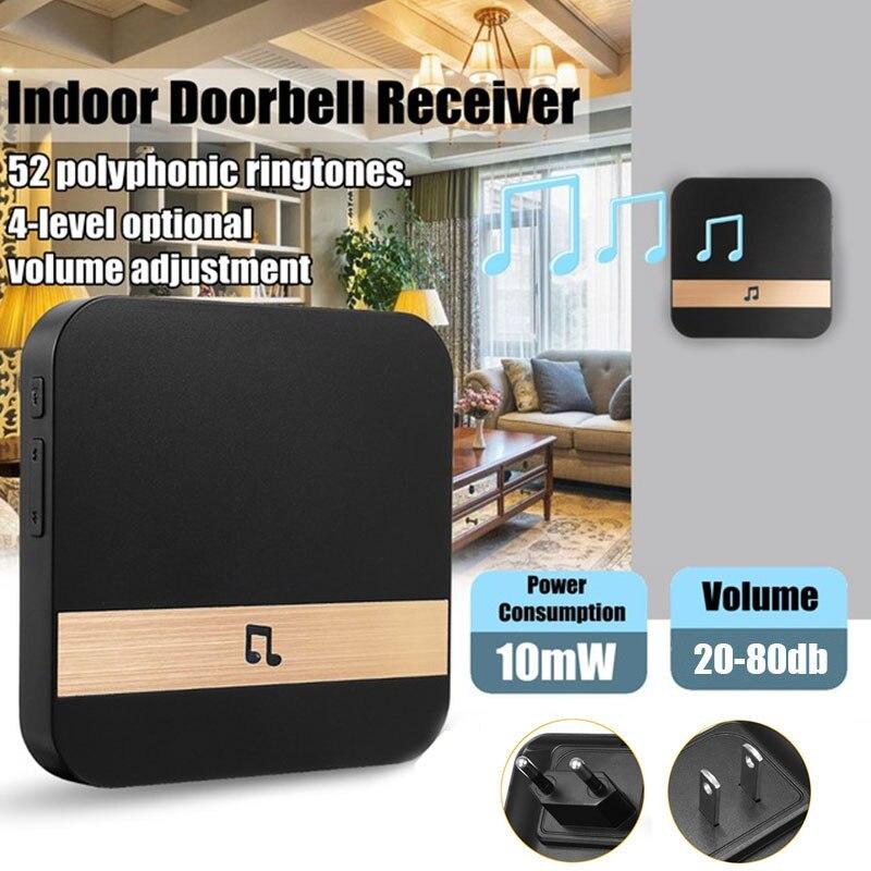 52 Types Music Ringtones waterproof Smart Wifi doorbell chime Black EU/US/UK