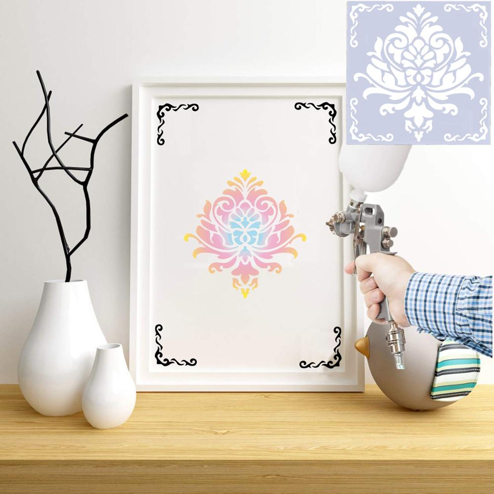 1pc 15*15 Mandala Stencils DIY home decoration drawing Laser cut template Wall Stencil Painting for Wood Tiles Fabric 6