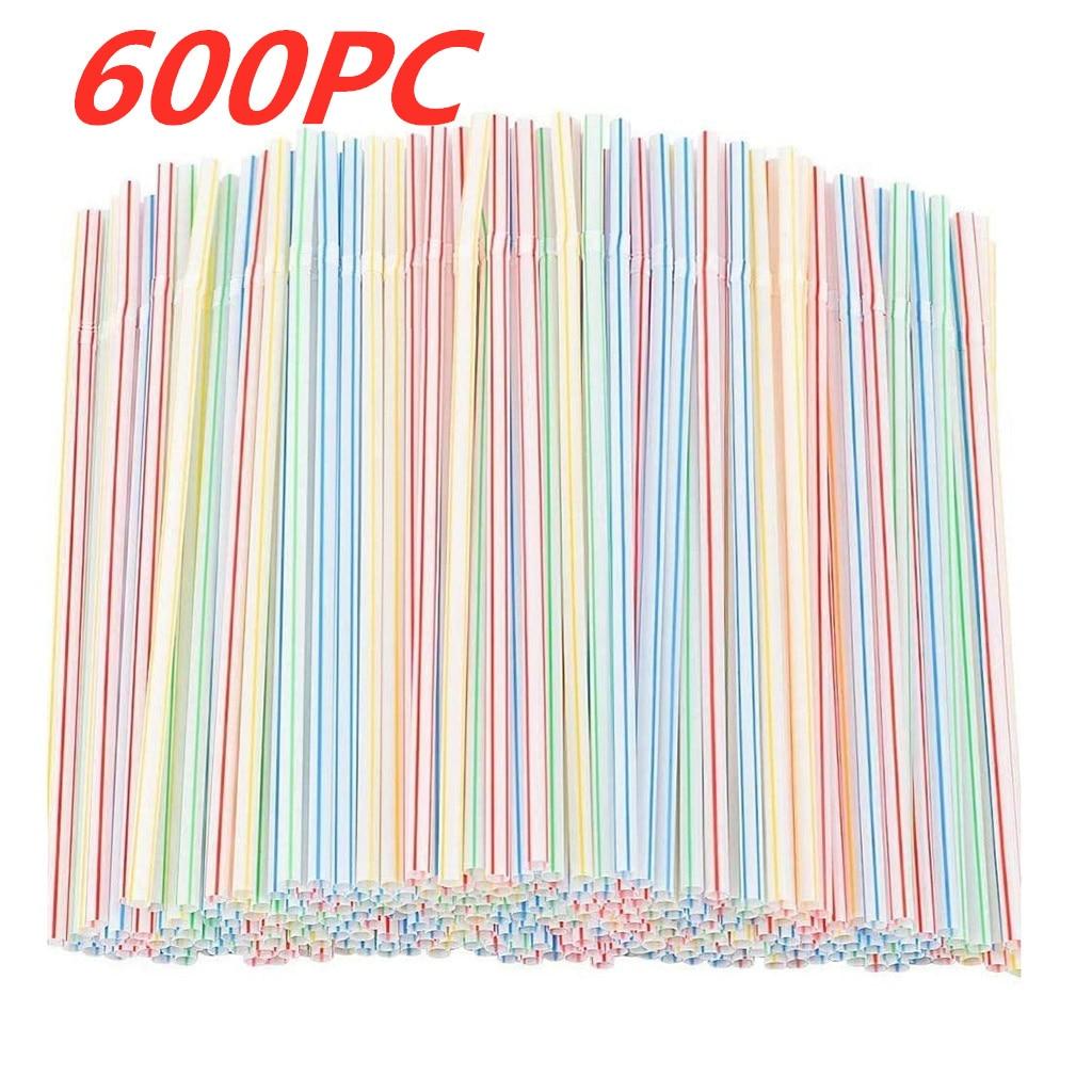 600 шт. питьевой соломинки красочных Пластик питьевой соломинка для коктейля одежда для свадьбы, дня рождения питьевые соломинки бар напиток...