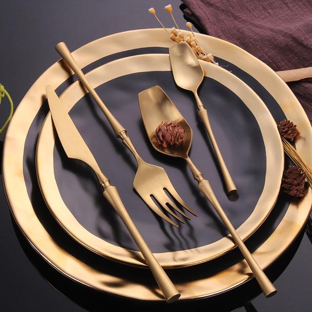 """נירוסטה סכו""""ם סט זהב סט כלי אוכל מערבי סכו""""ם כלי שולחן כלי אוכל מתנה לחג המולד מזלגות סכיני כפיות"""