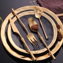 Conjunto de talheres de aço inoxidável conjunto de louça de ouro ocidental comida talheres talheres louça presente de natal garfos facas colheres