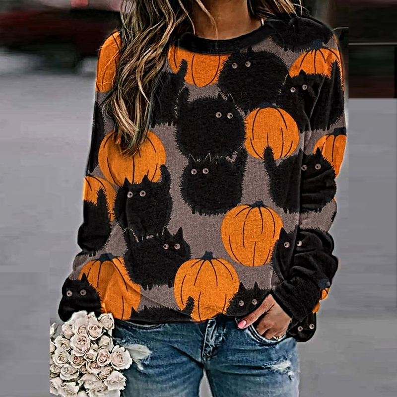 Newly Hallows' Day Printed Sweatshirts Pullover Casual Halloween Clothes Long Sleeve Autumn Winter Shirt Women Tops 2020