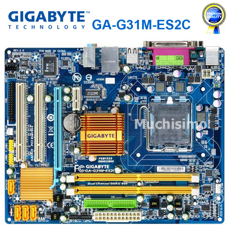 100% Original Motherboard For Gigabyte GA-G31M-ES2C DDR2 LGA 775 Solid-state Integrated G31M-ES2C Desktop Mainboard Used