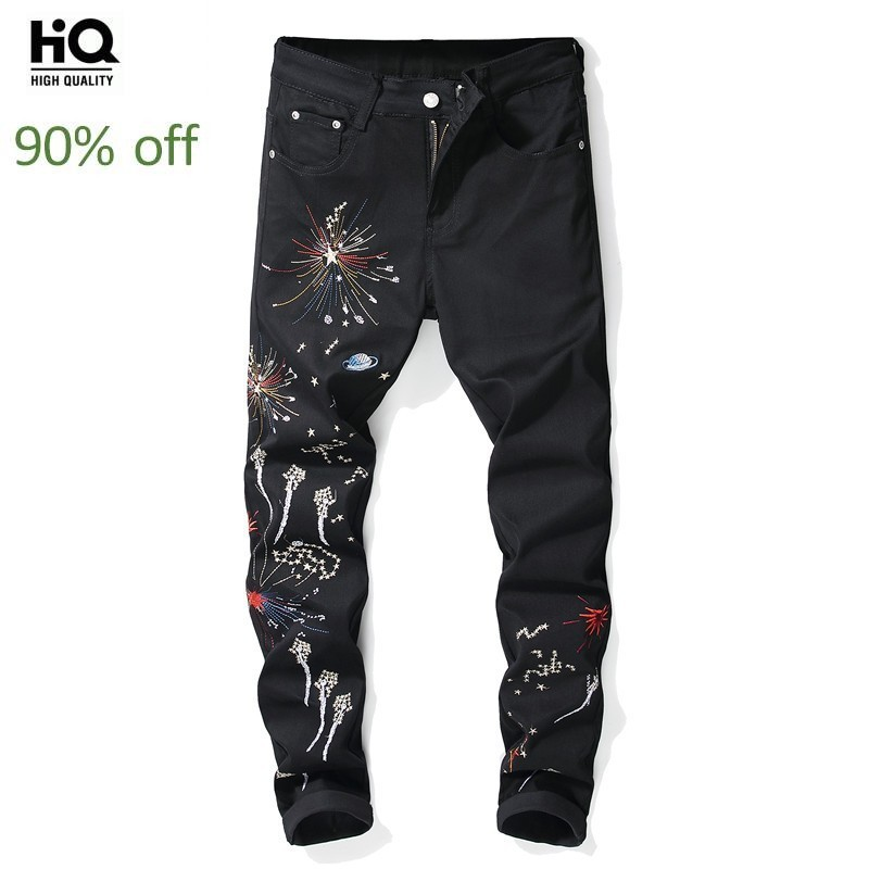 2020 New Brand Mens Slim Denim Pants Fashion Embroidery Printing Jeans Trousers Male Black Casual Elastic Pencil Pants Plus Size