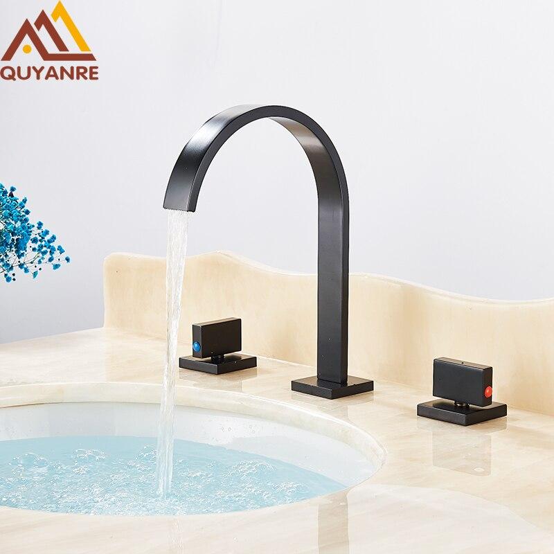 Quyanre noir Chrome robinet de lavabo carré répandu 3 trous double poignées mitigeur robinet cascade robinet de salle de bain torneiras