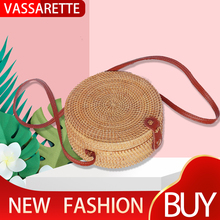 Round Retro Style Straw Women Rattan Shoulder Bags round rattan bag Handmade Woven Bohemia Crossbody New Fashion