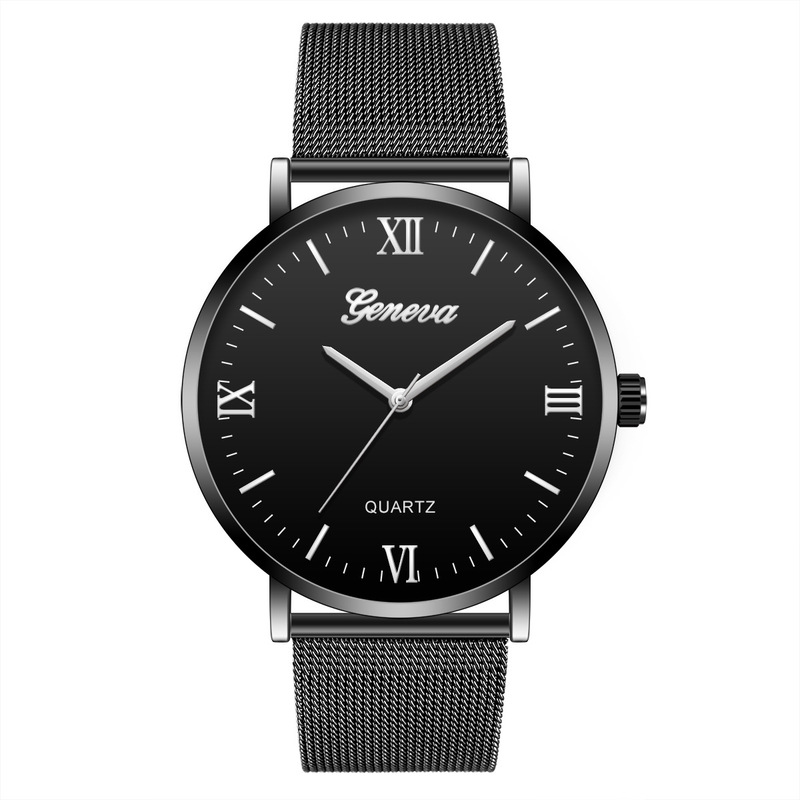 JOOM Hit Men Watches Steel Mesh Belt Black Shell Watches Leisure Male Students Quartz Watch Factory Direct Sale