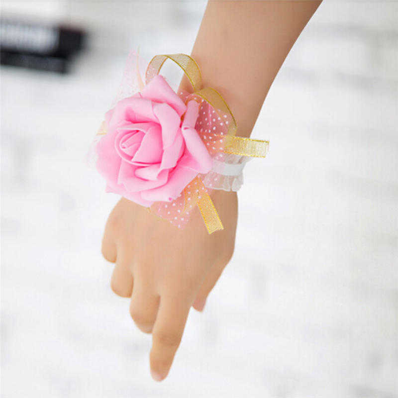New Bridesmaid Wrist Corsage  Party Rose Bracelet  Silk Flowers Ribbon Bride Wedding Ornament Decoration Bridesmaid Dress