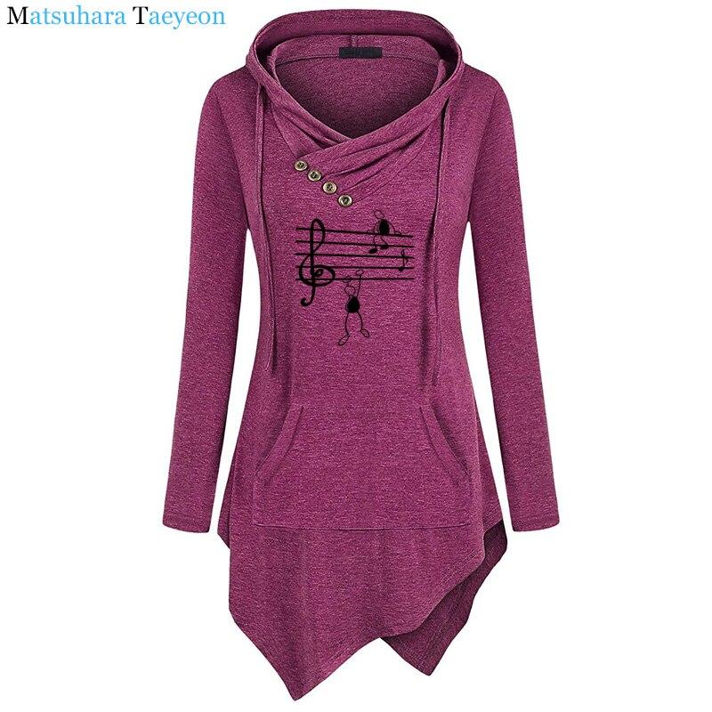 2019 New Music Notes Funny Print Hoodie Women Summer Style Cotton Long Sleeve Sweatshirt Hoodies Funny Irregular Clothing 4