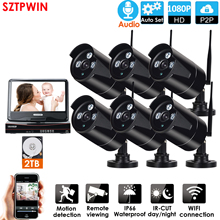 """6CH audio Wireless Surveillance System Network 10.1"""" LCD Monitor NVR Recorder Kit1080P HD Video Inputs 2.0MP Security Camera"""
