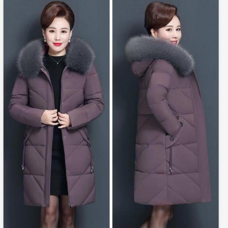 Middle-aged And Old-fashioned Cotton Women Slim Down Cotton Long-sleeved Cotton Jacket Hooded 5XL Outwear Female Down Jacket 7XL