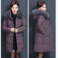 Middle aged and old fashioned cotton women slim down cotton long sleeved cotton jacket hooded 5XL Outwear Female down jacket 7XL