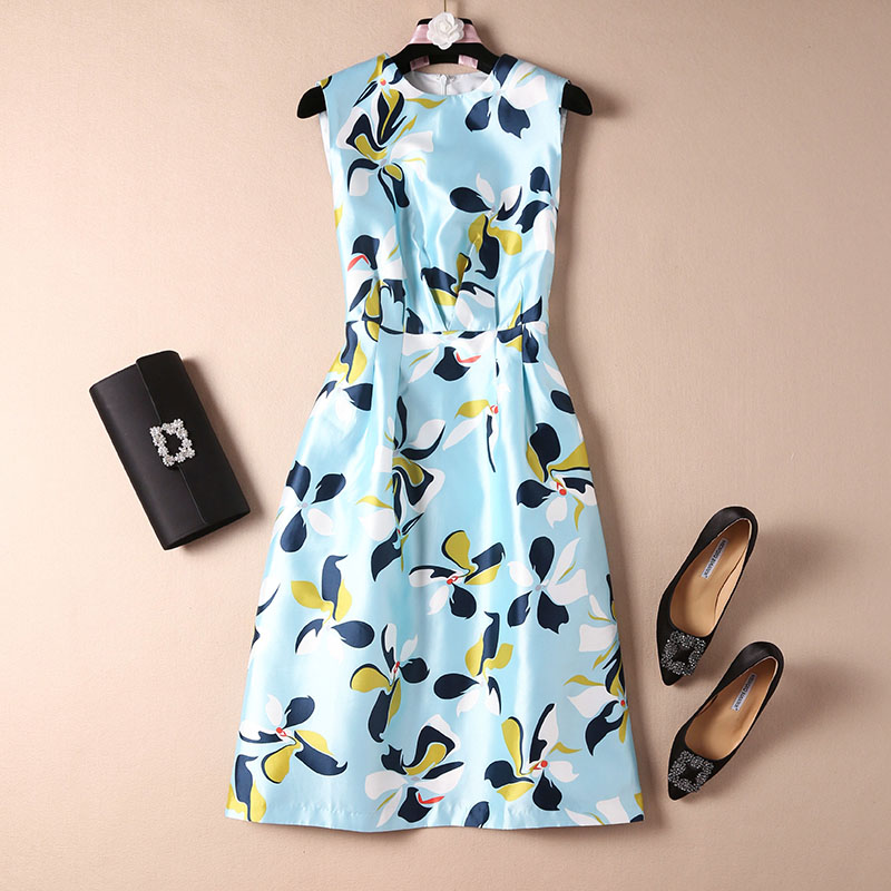 Nouveauté 2019 floral imprimé robe de grande taille bureau dame OL style élégant a-ligne sans manches robes bleu