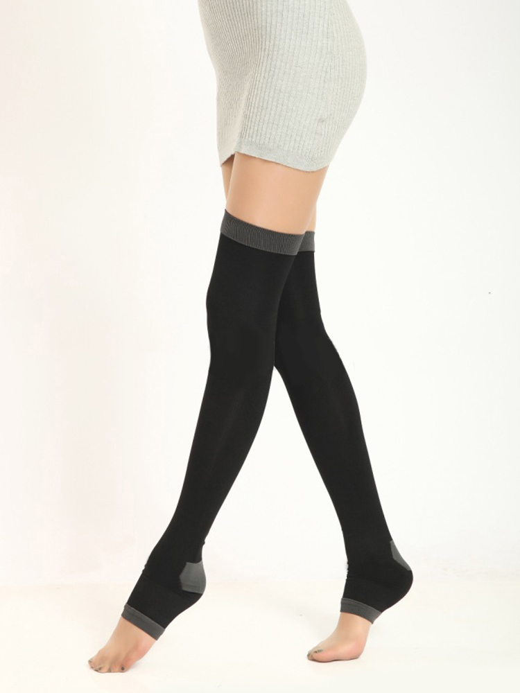 420D 80CM Womens Stockings Nylon Varicose Veins Compression Burn Fat Fit Slimming Beauty Leg Over the Knee High Socks Fingerless