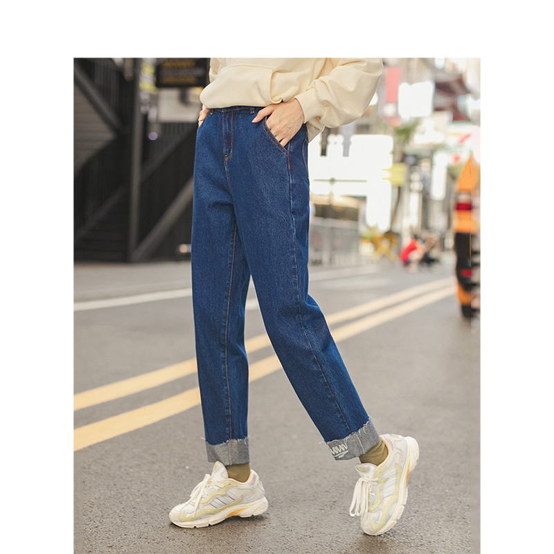 INMAN Winter Mid Waist Embroidery Leg Cut Girls Fashion Cropped Jeans Pants