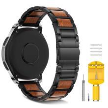 In Acciaio Inox In Legno Cinghia di Replacemnet per Samsung Gear S3/Galaxy Orologio 46 millimetri banda 22 millimetri di Legno Del Wristband Del Braccialetto per la Galassia 46 millimetri