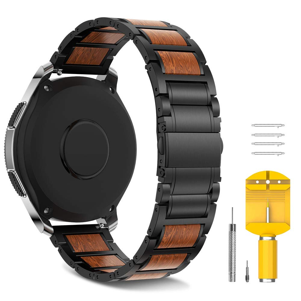 Stainless Steel Wood Strap Replacemnet For Samsung Gear S3/Galaxy Watch 46mm Band 22mm Wood Wristband Bracelet For Galaxy 46mm