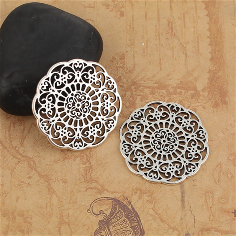 DoreenBeads Zinc Based Alloy Connectors Antique Silver Color Filigree Charms DIY Findings 31mm(1 2/8