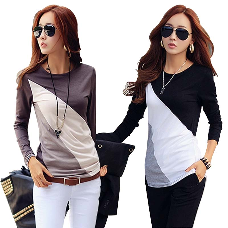 Tee Shirt Long Sleeve Round Neck Women Tee Shirt 2019 Fall Winter Slim Korean Patchwork Tops Tee Plus Size Cotton Women Clothing