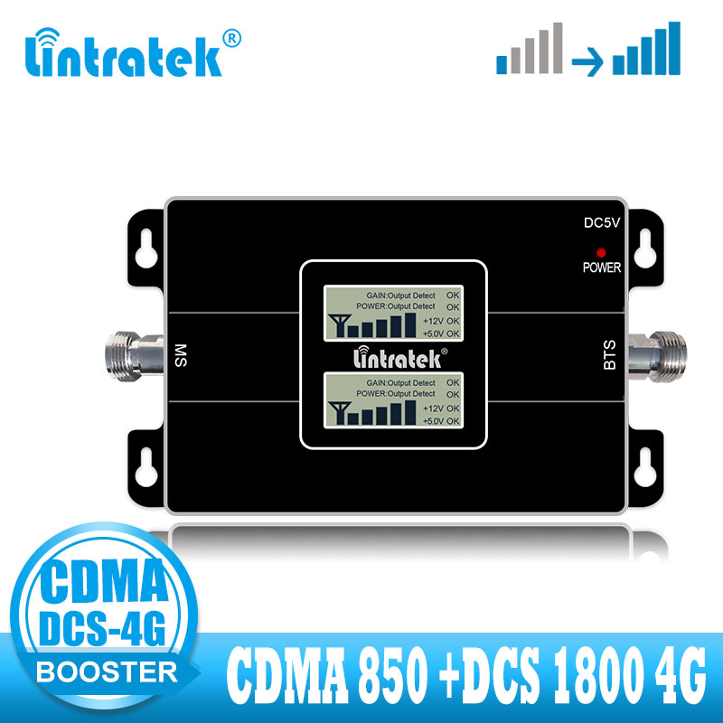 Lintratek CDMA 850MHZ DCS LTE 4G Signal Booster 850 1800  3G 4G Signal Amplifier Voice And Internet Network Dual Band Repeater