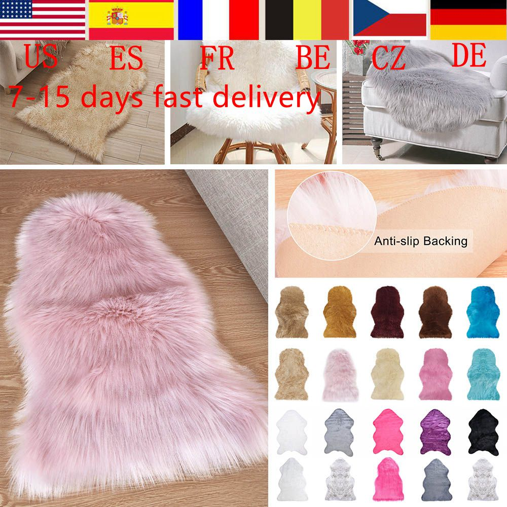 1Pcs Soft Fur Artificial Sheepskin Hairy Carpet For Bedroom Living Room Skin Fur Plain Rugs Fluffy Area Rugs Washable Faux Mat(China)
