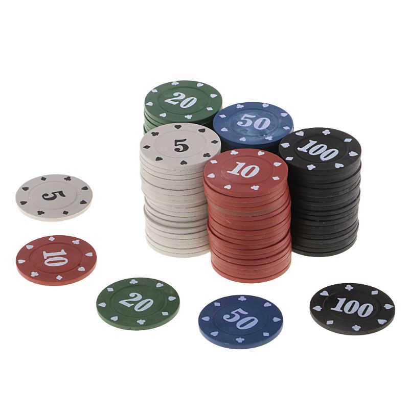100pcs Round Plastic Chips Casino Poker Card Game Baccarat Counting Accessories-5
