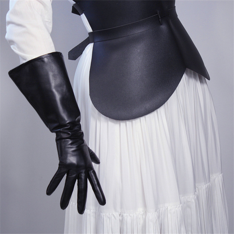REAL LEATHER TECH LONG GLOVES Unisex Black 50cm Wide Balloon Puff Sleeves Large