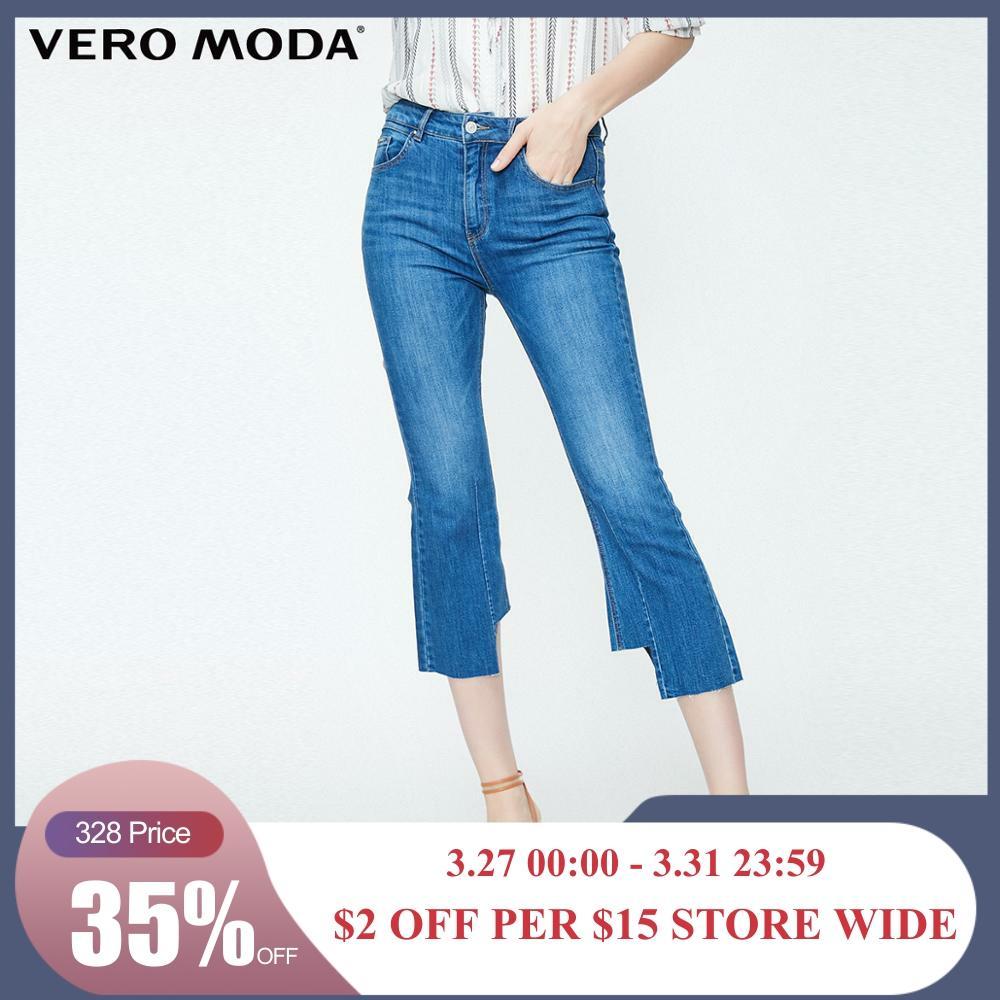Vero Moda Women's Raw-edge Cuffs High-rise Capri Jeans | 31926I505