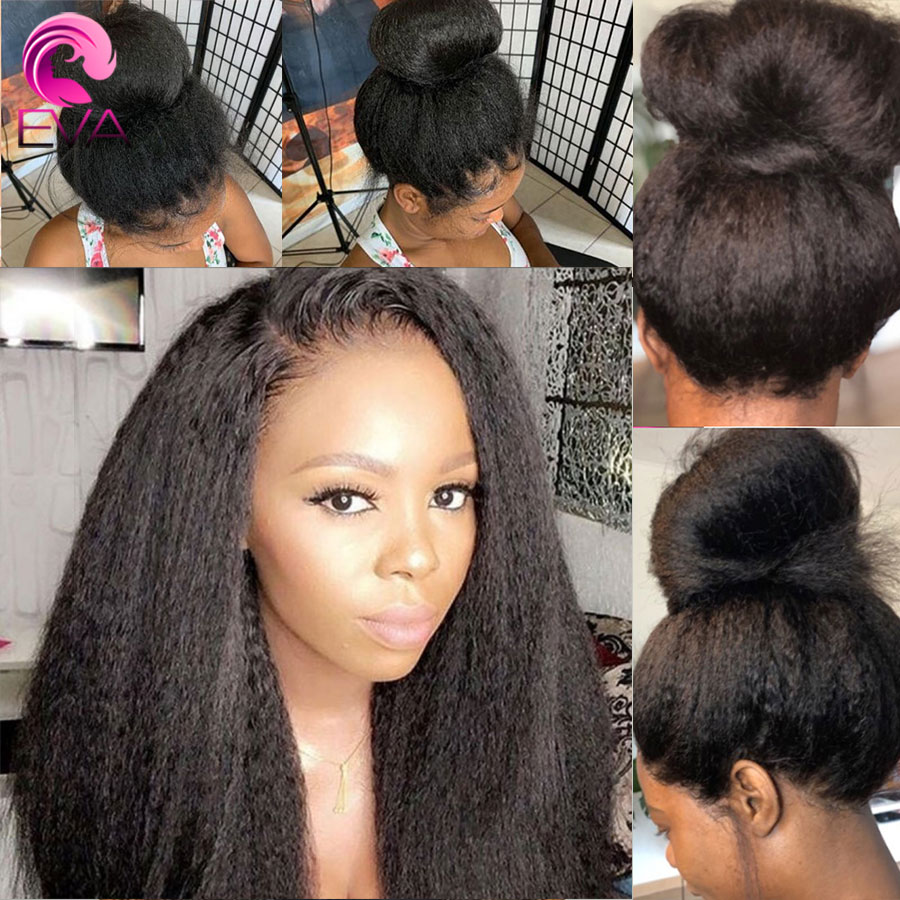 Eva Hair 150% 4.5*4.5 Silk Base Lace Front Human Hair Wigs Pre Plucked With Baby Hair Kinky Straight Brazilian Remy Hair Wigs
