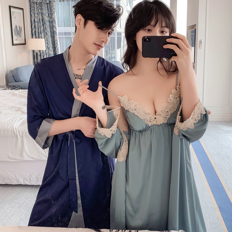 Sexy Summerbelt Chest Pad Simulation Silk Sling Pajamas Nightgown Two-piece Suit Lady Couple Pajamas Men's Wedding Dressing Gown