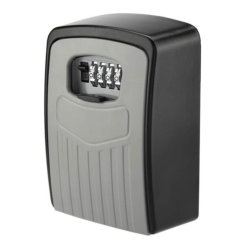 Key Box 4-Digit Adjustable Combination Password Key Box Premium Security Lock Organizer Wall-Mounted Key Storage Lock Box Grey