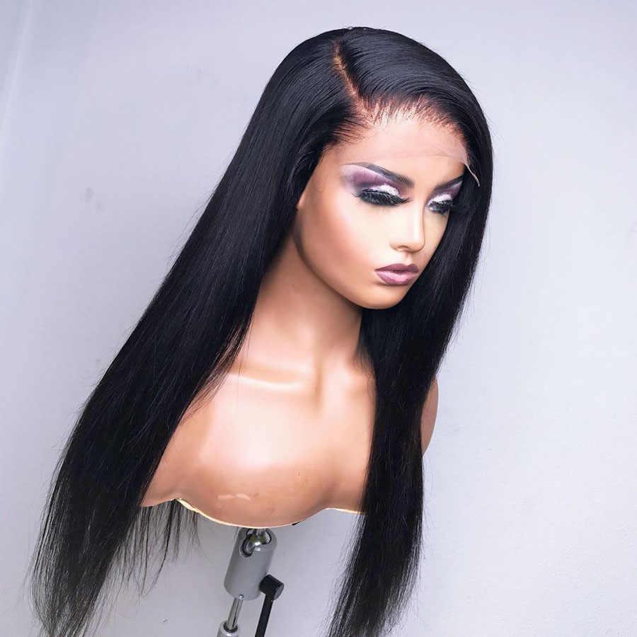 Peruaanse Silky Straight Lijmloze Zijden Top Full Lace Menselijk Haar Pruiken Natuurlijke Haarlijn Zijde Basis 4X4 Lace Front pruiken Voor Vrouwen