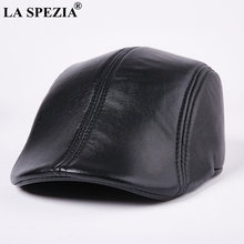 LA SPEZIA Genuine Leather Berets For Men Casual Black Duckbi