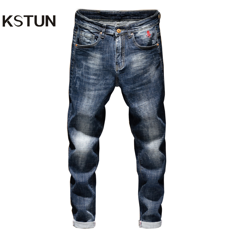 Jeans For Man Slim Fit Blue Stretch Autumn Winter Denim Pencil Pants Fashion Embroidered  Jeans Full  Trousers Men's Clothing