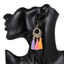 and American fashion popular jewelry personality exaggeration long tassel hollow ring earrings